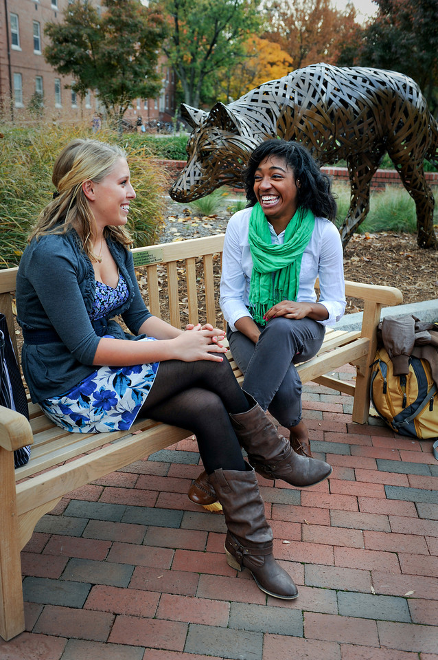 Students Chatting on Bench